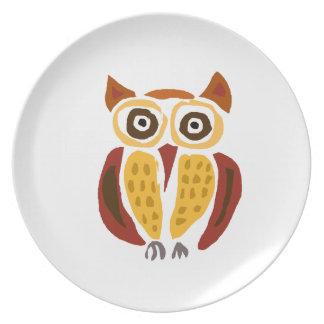 XX- Funny Primitive Art Owl Dinner Plates