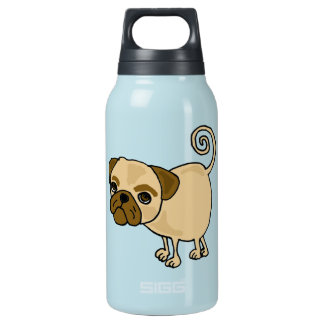 XX- Funny Pug Cartoon Puppy Dog Insulated Water Bottle