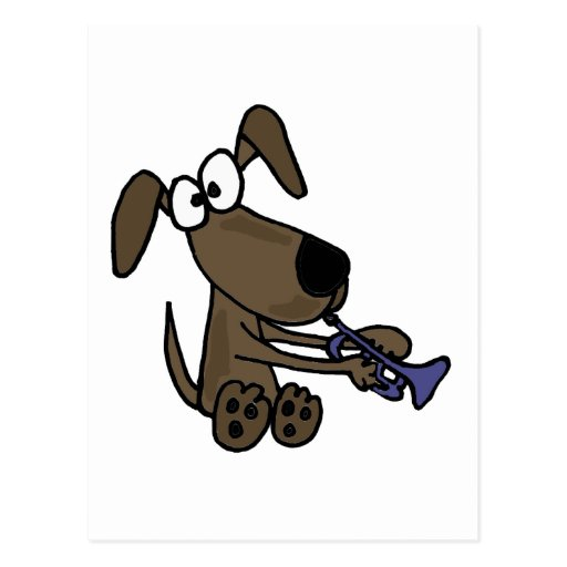 XX- Funny Puppy Dog Playing Trumpet Cartoon Post Cards