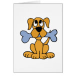 XX- Funny Puppy Dog with a Bone Design Card