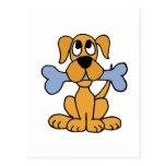 XX- Funny Puppy Dog with a Bone Design Postcards