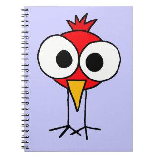XX- Funny Redbird Cartoon Spiral Notebooks