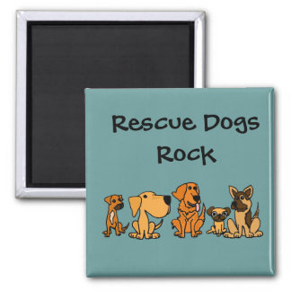 XX- Funny Rescue Dogs Group Cartoon 2 Inch Square Magnet