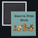 """XX- Funny Rescue Dogs Group Cartoon Magnet<br><div class=""""desc"""">Hilarious cute puppy dog group cartoon includes golden retriever, german shepherd, boxer mix, pug, and yellow labrador. Design is unique and fun and a great gift idea. Full of personality. Can also add custom text and change background color (click customize, then edit, then background) when ordering. Some designs say Rescue...</div>"""