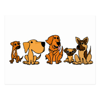 XX- Funny Rescue Dogs Group Cartoon Postcard