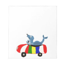XX- Funny Seal Driving Beach Ball Car Notepad