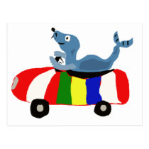 XX- Funny Seal Driving Beach Ball Car Postcard
