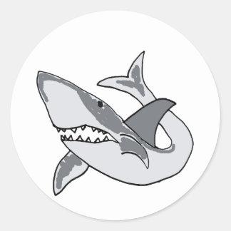 XX- Funny Shark Cartoon Classic Round Sticker
