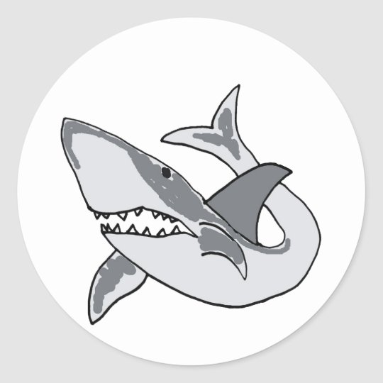 XX- Funny Shark Cartoon Classic Round Sticker