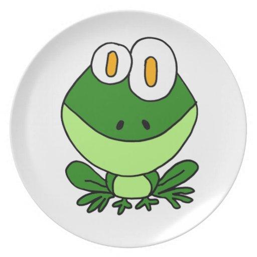 XX- Funny Sitting Green Frog Cartoon Dinner Plates