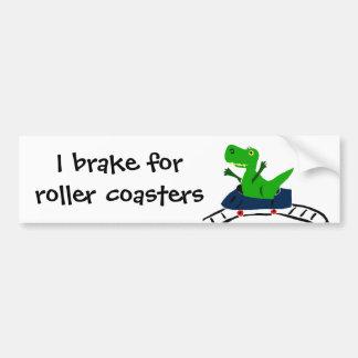 XX- Funny T-rex Dinosaur on Roller Coaster Art Bumper Sticker