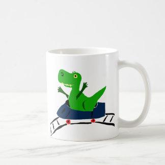 XX- Funny T-rex Dinosaur on Roller Coaster Art Classic White Coffee Mug