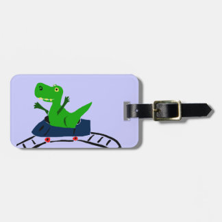 XX- Funny T-rex Dinosaur on Roller Coaster Art Tag For Bags