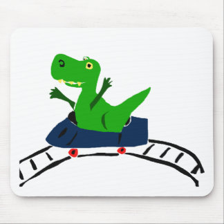 XX- Funny T-rex Dinosaur on Roller Coaster Art Mouse Pad