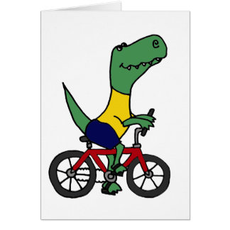 XX- Funny T-rex Dinosaur Riding Bicycle Card