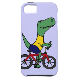 XX- Funny T-rex Dinosaur Riding Bicycle iPhone 5 Cases