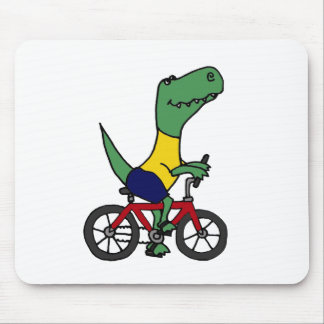 XX- Funny T-rex Dinosaur Riding Bicycle Mouse Pad