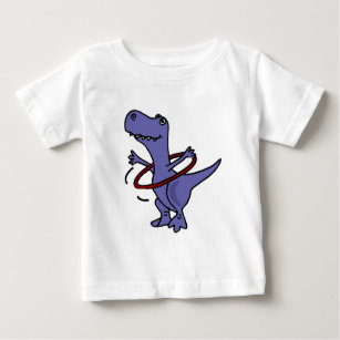 cb91de0882 XX- Funny T-rex Dinosaur Using Hula Hoop Baby T-Shirt