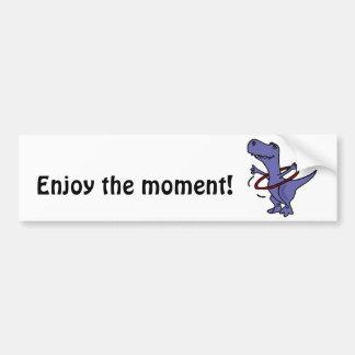 XX- Funny T-rex Dinosaur Using Hula Hoop Car Bumper Sticker