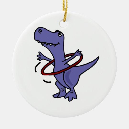 XX- Funny T-rex Dinosaur Using Hula Hoop Ceramic Ornament
