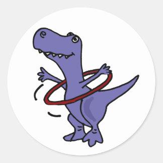 XX- Funny T-rex Dinosaur Using Hula Hoop Classic Round Sticker