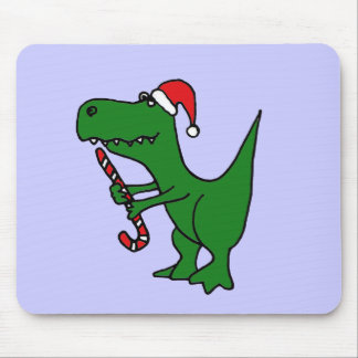 XX- Funny T-rex Dinosaur Wearing Santa Hat Mouse Pad