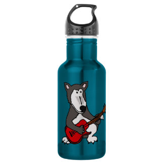 XX- Funny Wolf Playing Guitar 18oz Water Bottle