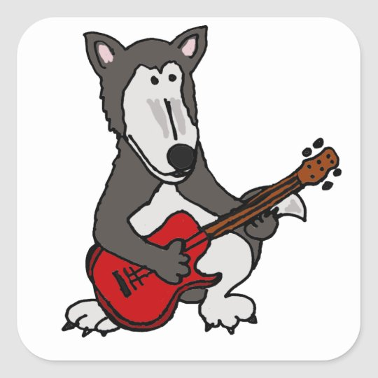 XX- Funny Wolf Playing Guitar Square Sticker