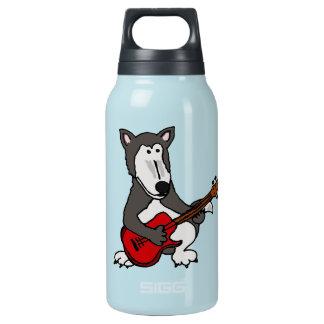 XX- Funny Wolf Playing Guitar Thermos Water Bottle