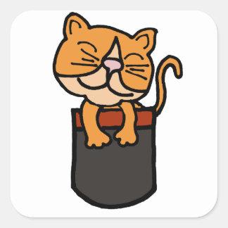 XX gato divertido en un bolsillo Pegatina Cuadrada