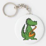 XX- Gator Playing Saxophone Basic Round Button Keychain