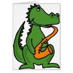 XX- Gator Playing Saxophone Greeting Card