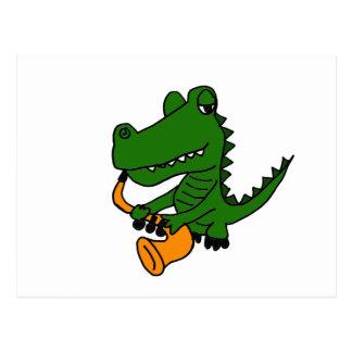 XX- Gator Playing the Saxophone Postcard