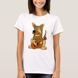 XX- German Shepherd Puppy Playing Guitar Cartoon T-Shirt