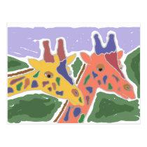 XX- Giraffe Art Postcard