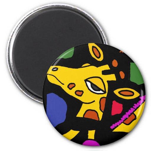 XX- Giraffe Cubist Art 2 Inch Round Magnet
