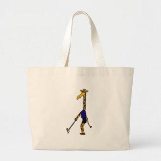 XX- Giraffe Playing Golf Design Large Tote Bag