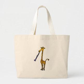 XX- Giraffe Playing the Clarinet Tote Bags