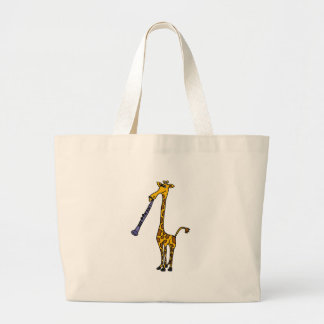 XX- Giraffe Playing the Clarinet Large Tote Bag