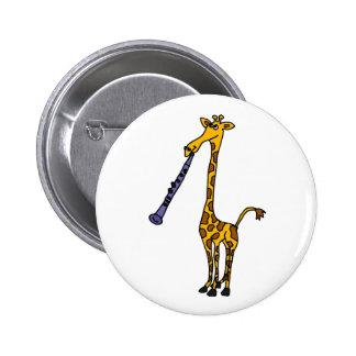 XX- Giraffe Playing the Clarinet Pinback Button