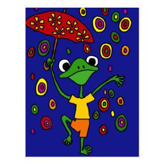 XX- Glorious Frog Dancing in the Rain Postcard
