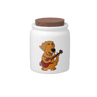 XX- Golden Retriever Dog Playing Guitar Candy Jar