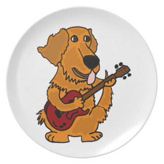 XX- Golden Retriever Dog Playing Guitar Melamine Plate
