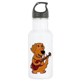 XX- Golden Retriever Dog Playing Guitar 18oz Water Bottle