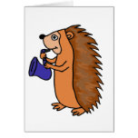 XX- Hedgehog Playing Saxophone Cartoon Greeting Card