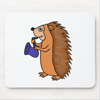 XX- Hedgehog Playing Saxophone Cartoon Mouse Pad