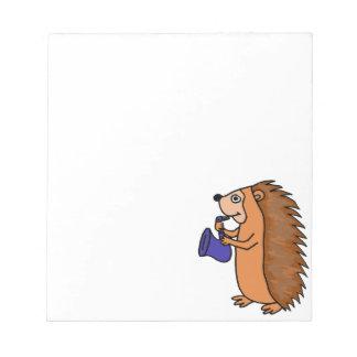 XX- Hedgehog Playing Saxophone Cartoon Notepad