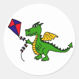 XX- Hilarious Dragon Flying Kite Classic Round Sticker