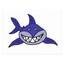 XX- Hilarious Grinning Shark Cartoon Postcard