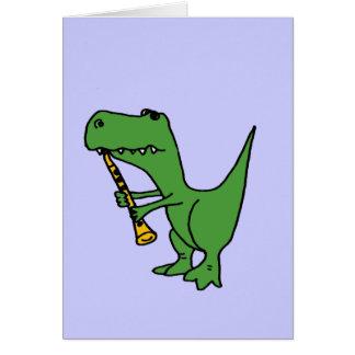 XX- Hilarious T-rex Dinosaur Playing the Clarinet Greeting Card
